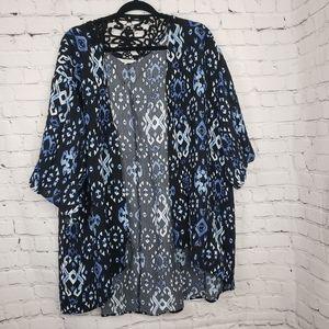 Reitmans Blue Kimono Plus Size Swim Cover-Up
